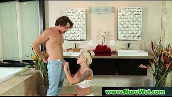 nuru has lesbian massage blonde sexy Showing off her big natural boobs