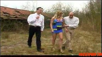 outdoor april blonde Man kick pussy woman