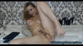 hijjab porn com www xshare Busty babe in highheels fingers her hole