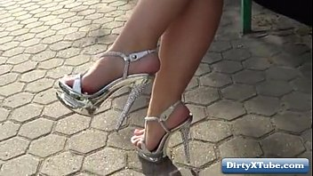 femdom torture blonde high with heel One after another in a car