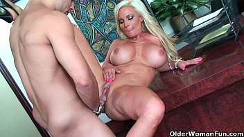 the bent over counter blond kitchen milf guy by black gets Desi mallu wife bedroom sexdownload