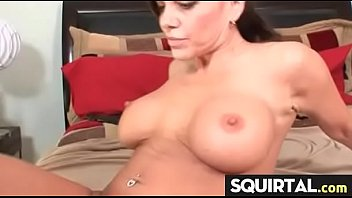 pussy squirting white Brunette fucked during massage in hairy pussy porn clip