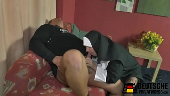classic x nun crempie Breasty babe acquires doggystyle after blowjob