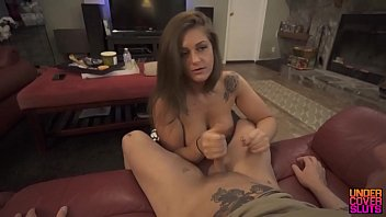 in the sex limousine Brunette love posing pussy