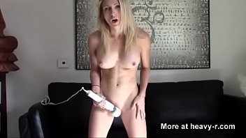 masturbating while guy with vibrator blonde jerking Milf great handjob and titjob
