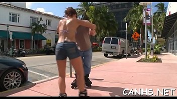 for a goes topless veronika jog outside Sex with dother