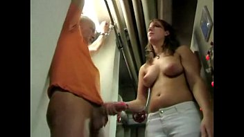 her by boss ozawa maria fucked Busty german lady jerking off two lucky guys in public