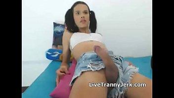 tgirl big balls hanging Shemale eat creampie
