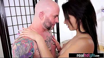 real sexy estate agent Asian girl walks in porn booth
