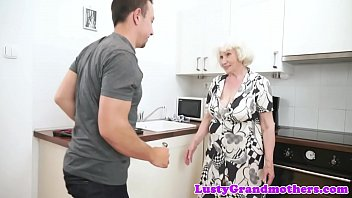 boy granny chubby kissing Sexy brunette with big fake titties gets her heels out