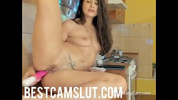 cousin the in kitchen Hot brunette babe gets her tight cunt