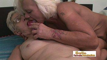 scissoring lesbian granny Barbara summer double decker